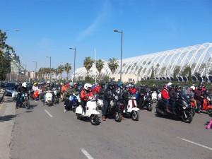 Vespa group in Valencia city