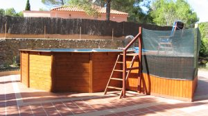 Wooden frame above ground pool