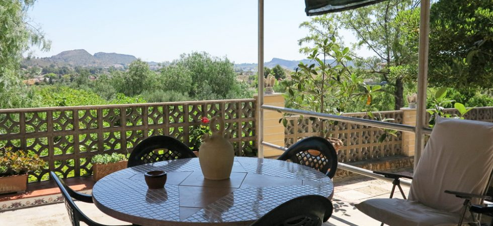 Covered terrace with views across to Monserrat